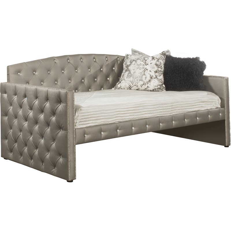 ce67bc2f37b50 Hillsdale Memphis Faux Leather Tufted Daybed in Pewter - 1886DB