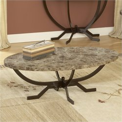 Hillsdale Monaco Oval Faux Marble Top Coffee Table in Matte Espresso