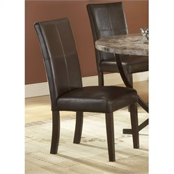Hillsdale Monaco Leather Side Parson Chair in Matte Espresso (Set of 2)