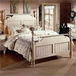Hillsdale Wilshire Antique White Wood Poster Bed 4 Piece Bedroom Set (Armoire included)