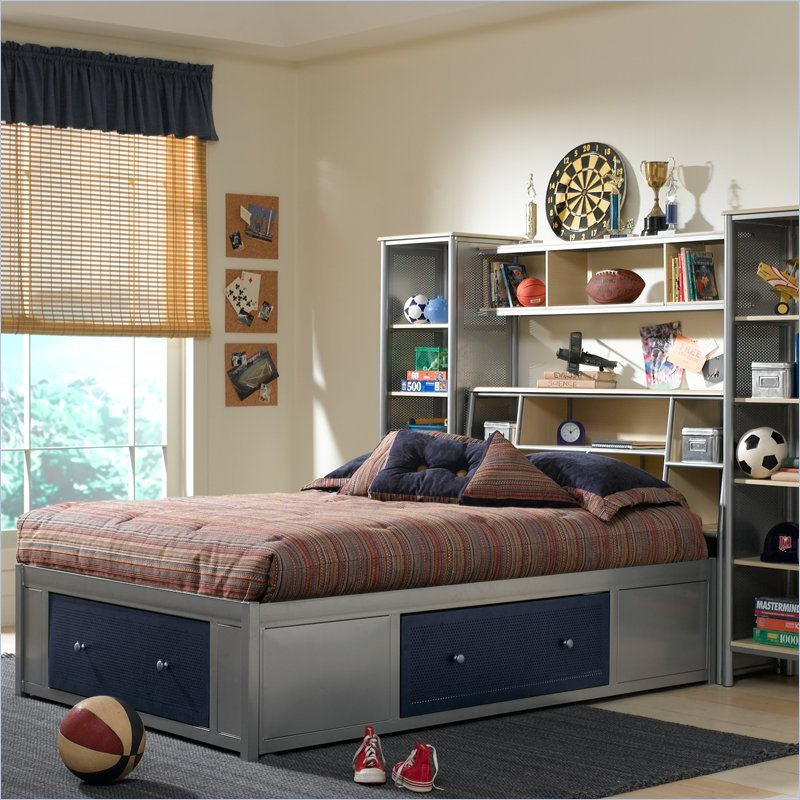 Universal Youth Bookcase Storage Platform Bed 4 Piece Bedroom Set in Navy and Silver