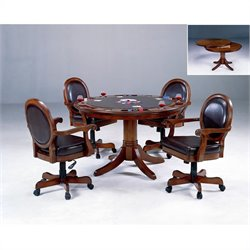 Hillsdale Warrington 5 Piece Poker Table Set in Cherry Finish