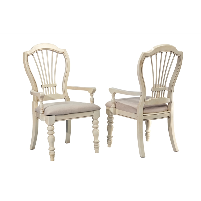 Hillsdale Furniture Wood Pine Island Old White Wheat Back Arm Chair Set of 2