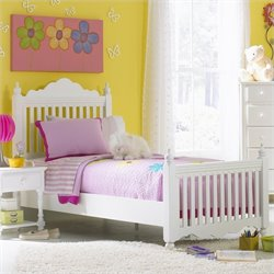 Hillsdale Lauren Poster Bed in Pure White Finish - Twin