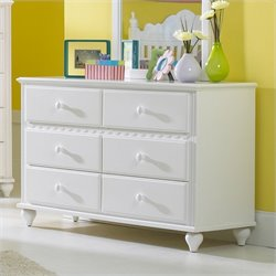 Hillsdale Lauren 6 Drawer Double Dresser in White