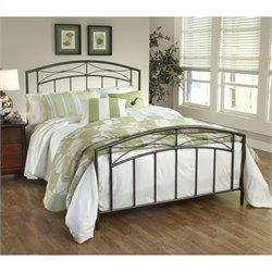 Hillsdale Morris Metal Panel Bed in Sand Silver - Twin