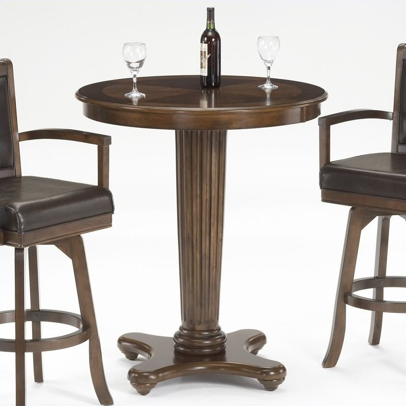 Ambassador Round Bar Height Pub Table in Rich Cherry