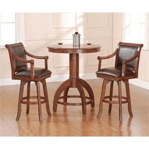 Hillsdale Palm Springs 3 Piece Faux Leather Pub Set in Brown Cherry