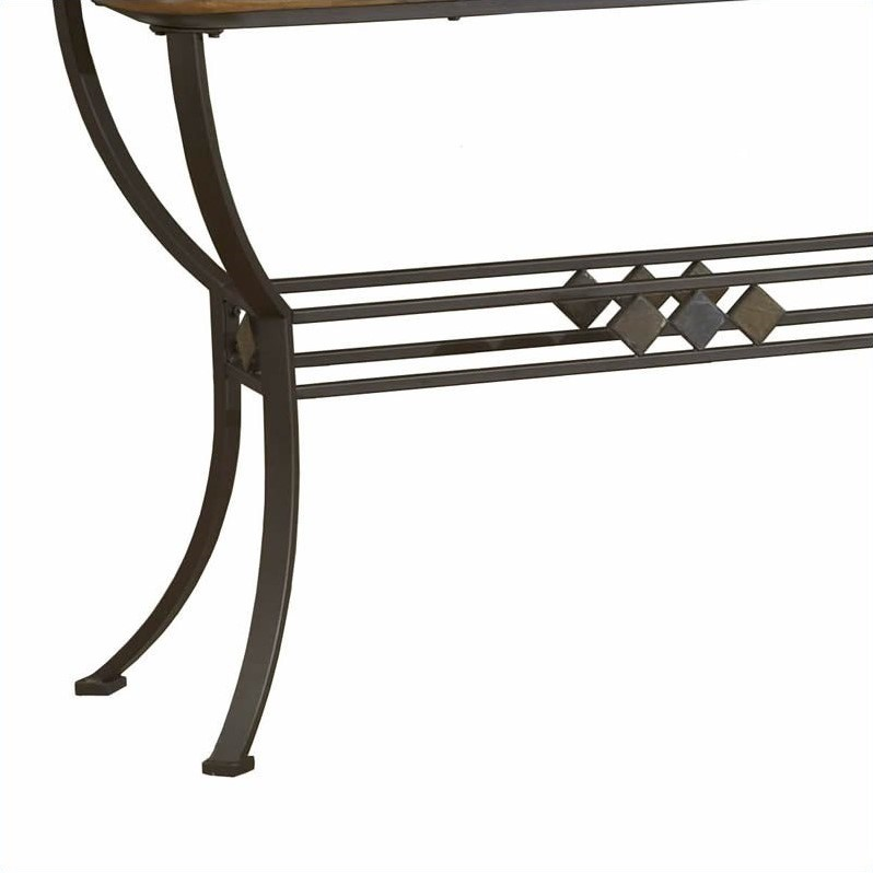 Hillsdale Lakeview Slate Top Console Sofa Table in Brown and Medium Oak