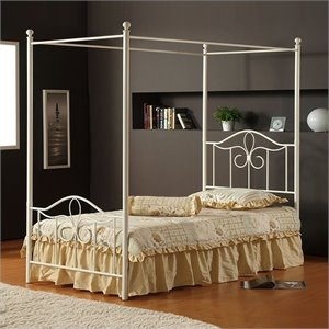 Hillsdale Westfield Metal Canopy Bed in Off White