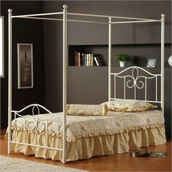 Hillsdale Westfield Metal Canopy Bed 4 Piece Bedroom Set in Off White - Twin