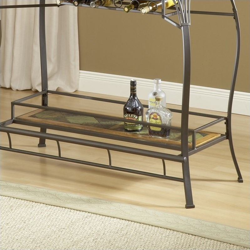 Hillsdale Lakeview Wood and Slate Top Home Bar Table in Brown and Medium Oak Finish