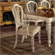 Hillsdale Wilshire Fabric Arm Dining Chair in Antique White (Set of 2)