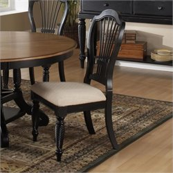 Hillsdale Wilshire Fabric Side Chair in Black Finish (Set of 2)
