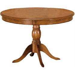 Hillsdale Bayberry Oak Round Casual Dining Table with Wood Top in Oak