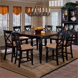 Hillsdale Northern Heights 5 Piece Dining Set with Counter Height Table in Black and Cherry Finish