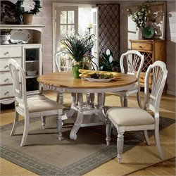 Hillsdale Wilshire 5 Piece Round Dining Table Set in Antique White