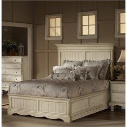 Hillsdale Wilshire Storage Panel Bed in Antique White - Queen