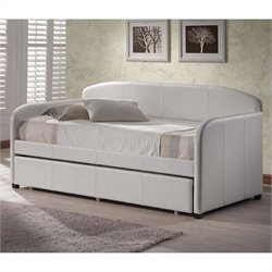 Hillsdale Springfield Daybed in White Faux Leather - Without Trundle