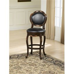 Alaina Leather Swivel Bar Stool in Distressed Cherry