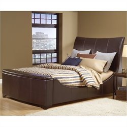 Hillsdale Justin Sleigh Storage Bed in Bonded Brown Leather - Queen
