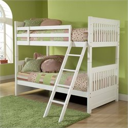 Hillsdale Lauren Twin over Twin Bunk Bed in White - Without Trundle