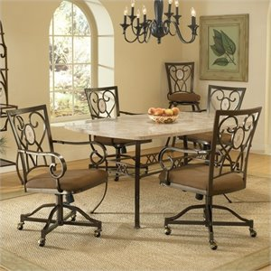 Hillsdale Brookside Dining Set with Oval Caster Chairs