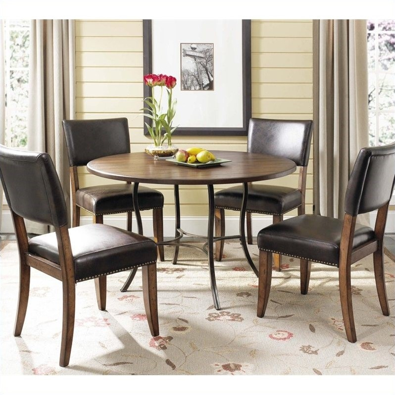 Cameron 5 Piece Round Wood Top Dining Set w/ Parsons Chairs