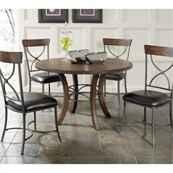 Hillsdale Cameron 5 Piece Round Wood Dining Set with X Back Chairs