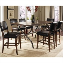 Hillsdale Cameron 7 Pc Counter Height Wood Dining Set w/ Parson Stools