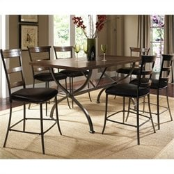 Hillsdale Cameron 7 Pc Counter Height Wood Dining Set w/ Ladder Stools