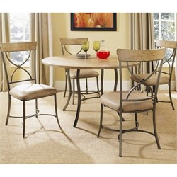 Hillsdale Charleston 5 Pc Round Wood Top Dining Set w/ X Back Chairs