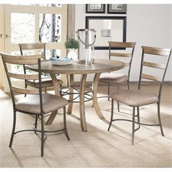 Hillsdale Charleston 5 Pc Round Wood Dining Set with Ladder Back Chairs