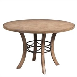 Hillsdale Charleston Round Wood Dining Table with Metal Ring in Tan