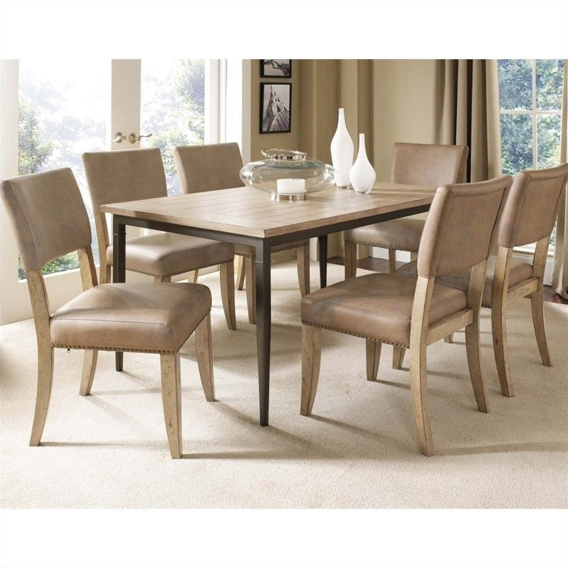 Charleston 7 Piece Rectangular Dining Set with Parson Chairs