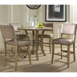 Hillsdale Charleston 5 Pc Counter Round Wood Pub Set w/ Parson Stools