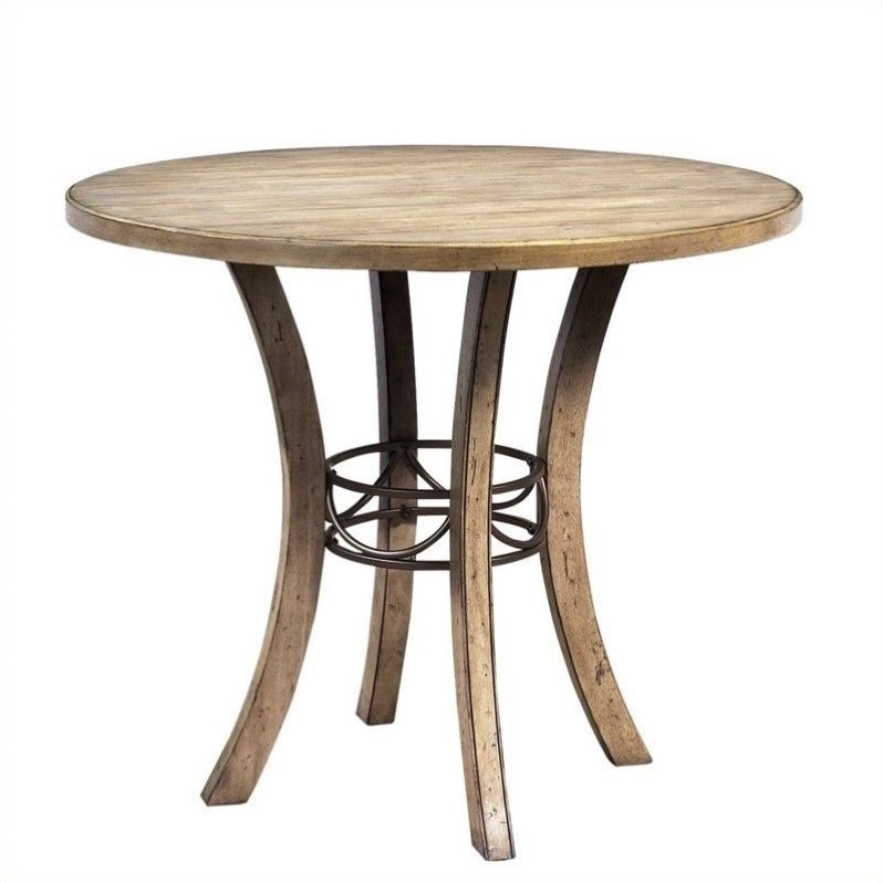 Charleston Round Wood Counter Height Table in Desert Tan