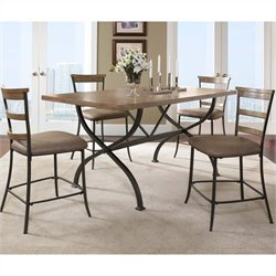 Hillsdale Charleston 5 Piece Counter Height Dining Set w/ Ladder Stools