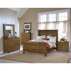 Hillsdale Outback 4 Piece King Bedroom Set with Dresser in Chestnut