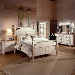 Hillsdale Wilshire 5 Piece Bedroom Set in Antique White - Queen size