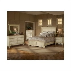 Hillsdale Wilshire 4 Piece Bedroom Set in Antique White - Queen size