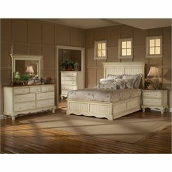 Hillsdale Wilshire 5 Piece Bedroom Set in Antique White - Queen