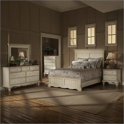 Hillsdale Wilshire 4 Piece Bedroom Set in Antique White - Queen