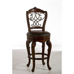 Hillsdale Burrell Swivel Stool in Brown Cherry and Old Steel - Bar Height