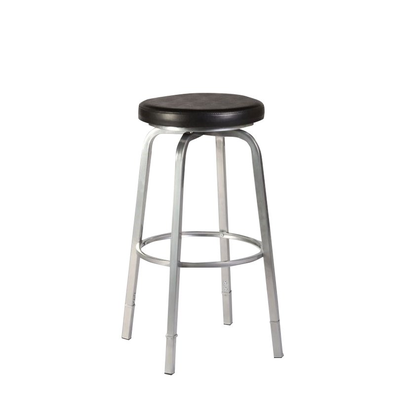 Hillsdale Neeman Backless Adjustable Counter Bar Stool in Silver Metal