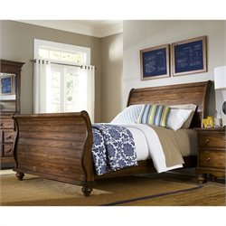 Hillsdale Hamptons Sleigh Bed in Weathered Dark Pine Finish - Queen