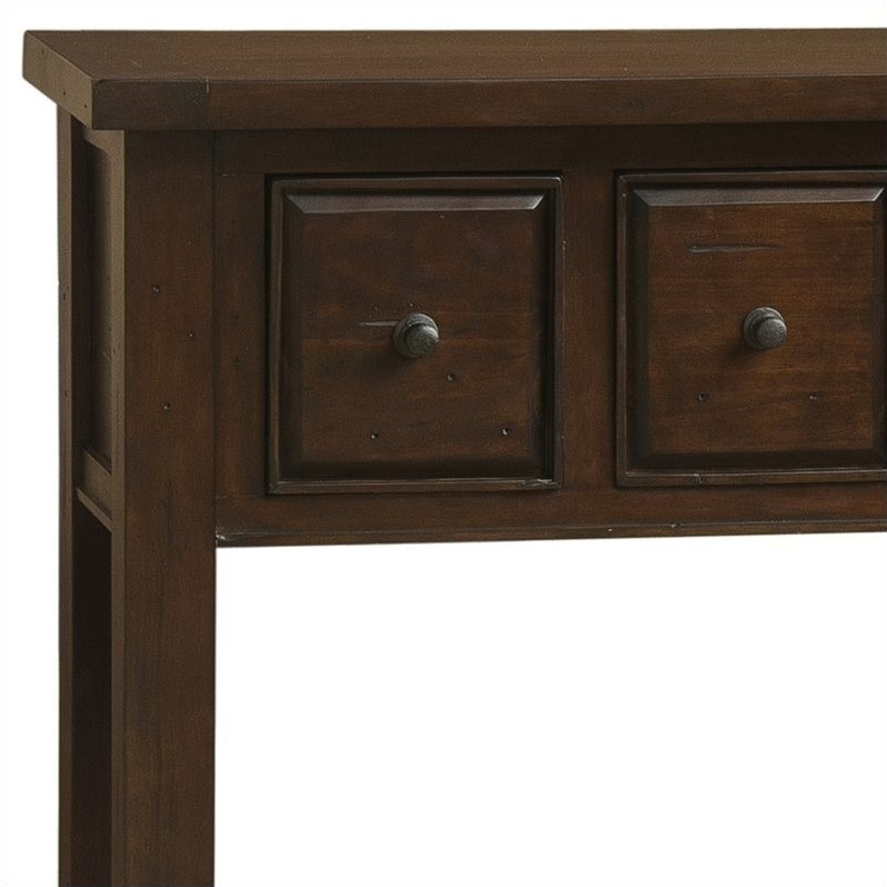 Hillsdale Tuscan Retreat 6 Drawer Hall Table in Rustic Mahogany