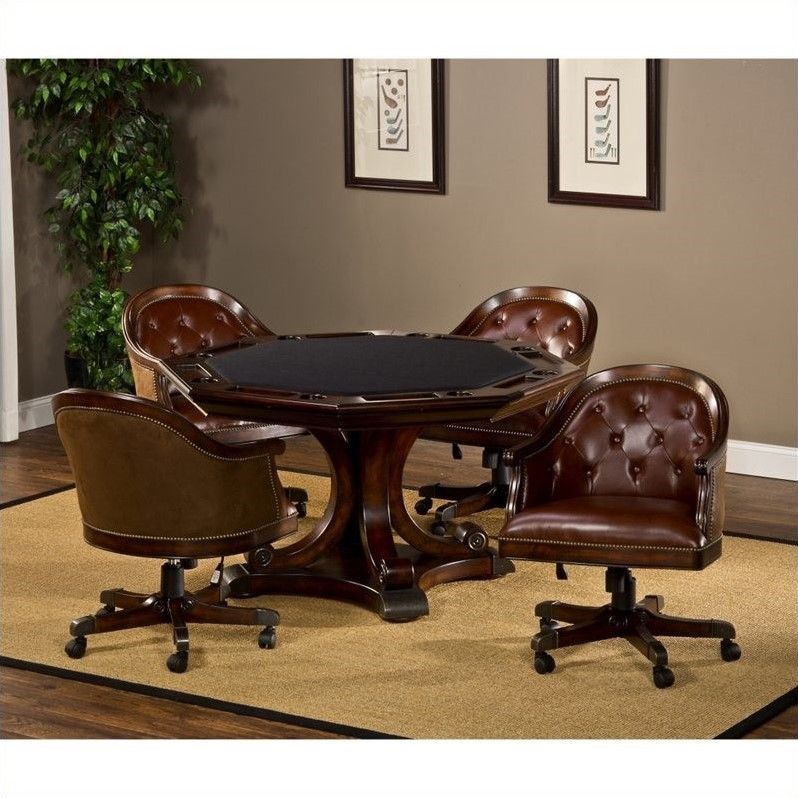 Harding 5 Piece Game Table Set in Rich Cherry