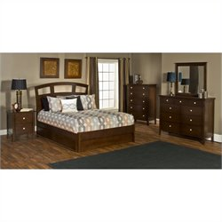 Hillsdale Metro 5 Piece Bedroom Set with Riva Storage Bed in Espresso