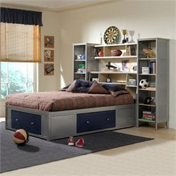Hillsdale Universal Youth Bookcase Storage Platform Bed and Wall Storage in Navy and Silver Finish - Twin